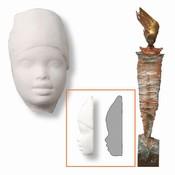 Powertex African collection 0025 Lady 5 gezichtjes