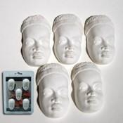 Powertex Masai collection 0179 gezichtjes Caras, 5 stuks