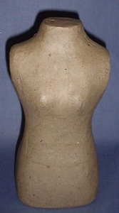 Papier-mache torso vrouw  20cm