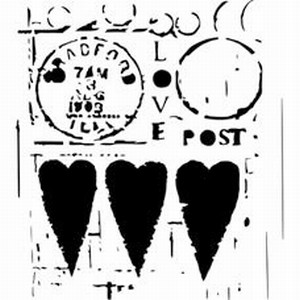 Stencil 12 inch. Post hart TCW31239511  30x30cm