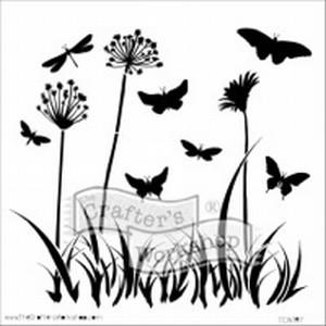 Stencil 12 inch. Voorjaar Vlinders Paardebloemen TCW31007100  30x30cm