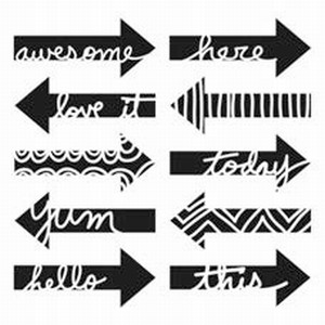 Stencil 12 inch. Word arrows TCW31359029