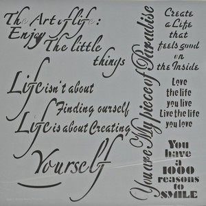 Powertex stencil 0509 Art of Life /Enjoy little things