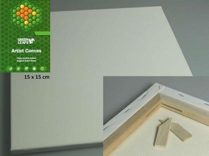 Canvas doek vierkant 15x15cm/1,7cm dik Green Leaves