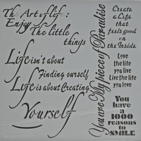 NIEUW Powertex stencil 0509 Art of Life /Enjoy little things 30x30cm